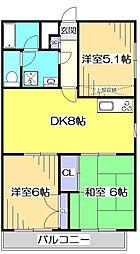 東京都小金井市貫井北町5丁目の賃貸マンションの間取り