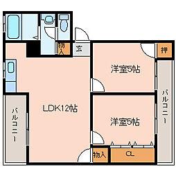 西山本コーポラス2号[3階]の間取り