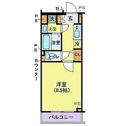 ジェノヴィア高円寺スカイガーデン 3階1Kの間取り