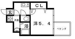 アドバンス上町台プレジール 3階1Kの間取り