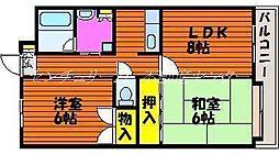 岡山県倉敷市昭和2丁目の賃貸マンションの間取り