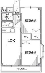 東京都調布市深大寺東町5丁目の賃貸マンションの間取り