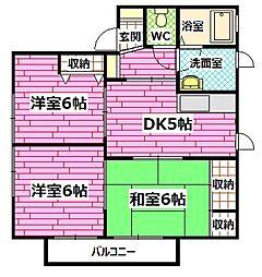 広島県広島市安芸区矢野南5の賃貸アパートの間取り