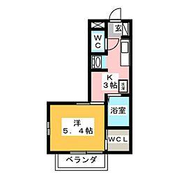 グリーンハイツM弐番館[1階]の間取り