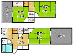 [テラスハウス] 大阪府枚方市牧野北町 の賃貸【/】の間取り