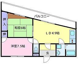 美原マンション 3階2LDKの間取り
