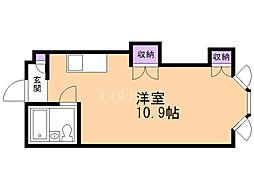 シティマンション 1階ワンルームの間取り