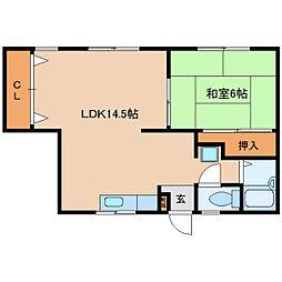 奈良県大和高田市曽大根2丁目の賃貸アパートの間取り