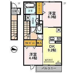 (仮称)三木市福井D-room[208号室]の間取り