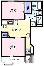JR五日市線 秋川駅 徒歩22分の賃貸アパート 1階2DKの間取り
