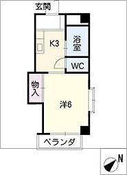 ハイツ竹の山[3階]の間取り