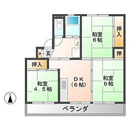 ビレッジハウス苗木 1号棟[2階]の間取り