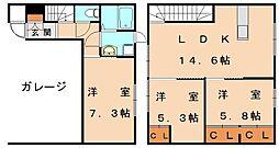 [テラスハウス] 福岡県福津市宮司浜2丁目 の賃貸【福岡県 / 福津市】の間取り