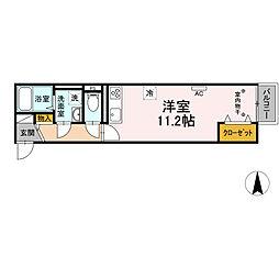 小田急小田原線 海老名駅 徒歩13分の賃貸アパート 2階ワンルームの間取り