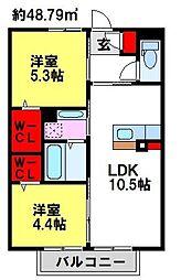 ソレイユ宿[2階]の間取り