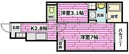 広島県広島市安佐南区上安3丁目の賃貸アパートの間取り