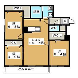 北海道札幌市西区八軒一条東1丁目の賃貸マンションの間取り