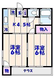 カトーガーデンハイツA棟[203号室]の間取り
