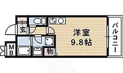 JR東海道・山陽本線 茨木駅 徒歩5分の賃貸マンション 3階ワンルームの間取り
