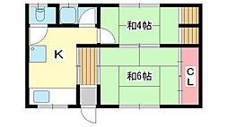 兵庫県神戸市須磨区妙法寺字口ノ川の賃貸アパートの間取り