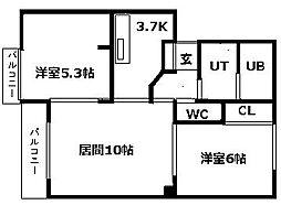 北海道札幌市清田区北野七条4丁目の賃貸アパートの間取り