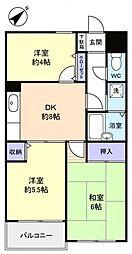 ジーエムコーポ八千代台[2階]の間取り