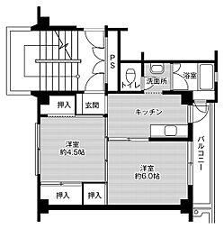 ビレッジハウス鳥居本1号棟 3階2Kの間取り