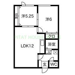 JR学園都市線 新川駅 徒歩9分の賃貸アパート 2階2LDKの間取り
