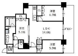 阿波座ライズタワーズフラッグ46 OMPタワー 17階3LDKの間取り