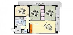 大阪府堺市西区鳳東町3丁の賃貸マンションの間取り