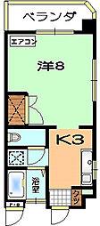 丘アパート 3階1Kの間取り