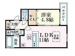 JR東海道・山陽本線 甲南山手駅 徒歩3分の賃貸マンション 2階1LDKの間取り