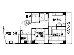 コーポ里ノ内[3階]の間取り