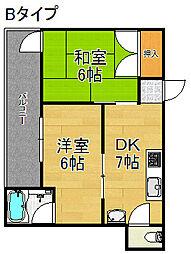 グランシャトー北加賀屋[2階]の間取り