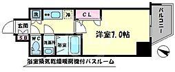 ファーストステージ江戸堀パークサイド 7階1Kの間取り