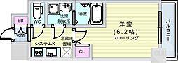 Osaka Metro長堀鶴見緑地線 西大橋駅 徒歩6分の賃貸マンション 6階1Kの間取り