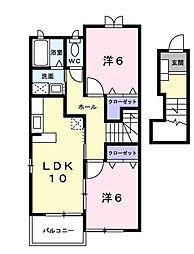 香川県観音寺市坂本町5丁目の賃貸アパートの間取り