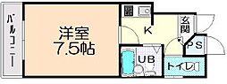 オムニバス平野[402号室]の間取り