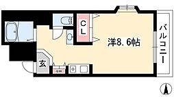 ノーブルハウス吉田 4階ワンルームの間取り