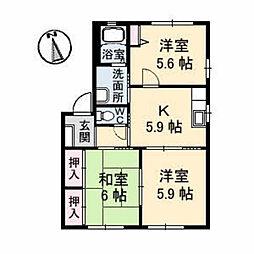 シャーメゾンソレイユA棟[A101号室]の間取り