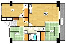 大和サニーハイツ高槻4棟[9階]の間取り