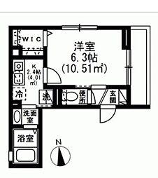 (仮称)新宿7丁目賃貸マンション 2階1Kの間取り