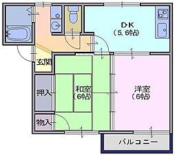フレグランスU 1階2DKの間取り