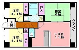サニークレスト平野西脇[604号室]の間取り
