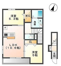 袖ケ浦市奈良輪2621番地新築アパート[201号室]の間取り