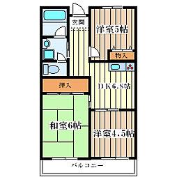 阪神花川マンション[3階]の間取り
