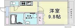Osaka Metro御堂筋線 梅田駅 徒歩21分の賃貸マンション 7階1Kの間取り