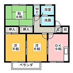 レイクサイドパレス B棟[1階]の間取り