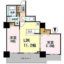 カスタリアタワー長堀橋[9階]の間取り