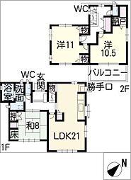 [一戸建] 愛知県岡崎市上地2丁目 の賃貸【/】の間取り
